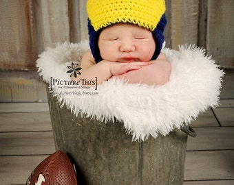 Baby Michigan Wolverines Helmet Hat Size 0-6 MO