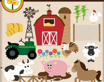 Farm Fun - Cute Digital Clipart Set for Personal and Commercial Use - Card Design, Scrapbooking, and Web Design