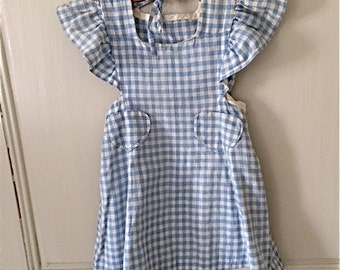 Vintage  Girl's Gingham Pinafore with Heart-Shaped Pockets