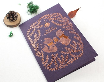 Christmas Card - Merry Christmas - 10 Copper Foil Greeting Cards