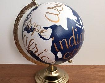 Painted globe, dorm decor, navy blue and white, office decor, custom globe,