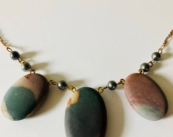 Oval Jasper Vintage Grey Glass Pearl Necklace, Statement Necklace, Natural Stone Jewelry