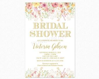 Spring Bridal Shower Invitation, English Garden Bridal Shower Invitation, Spring Flowers, Printable or Printed