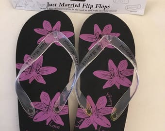 Just Married Black and Pink flip flops, size small.  Honeymoon, Bride gift.  Reduced price, last few left.