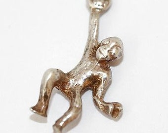 Vintage Monkey Sterling Silver Bracelet Charm / 3d Detail (2.1g)