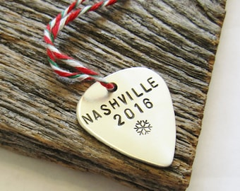 Nashville Ornament Tennessee Christmas Ornament Music Ornament Snowflake Guitar Pick Ornament Christmas Decoration Holiday Door Hanger Home