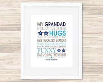 Personalised Bus Scroll (Blue/Navy) Father's Day Print