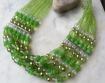 Wide Lime Green Glass & Pearl Beaded Choker Necklace / Spring Olive Lime Green Multi Strand Summer Wedding Jewelry Jewellery Gift For Her