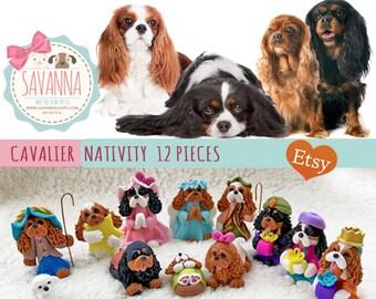 Dog Nativity Cavalier King Charles Spaniel Set 12 pieces