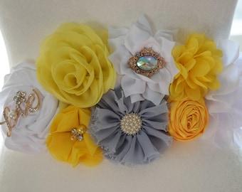 Yellow and Grey Maternity Belly Sash, Yellow Belly Sash, Elephant Baby Shower sash, Custom Belly Sash
