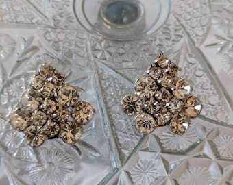 Crystal Clear Clip On Rhinestone Earrings