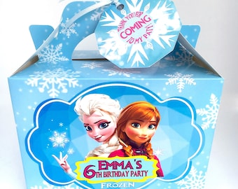 FROZEN Anna & Elsa Birthday Party Box Personalised x 1