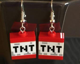 Minecraft earrings  TNT built of LEGO ® bricks