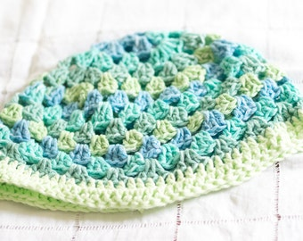 Blue and Green Crochet Hat