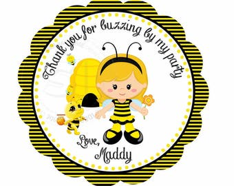 "Custom Bee Birthday 2.5"" Printable Tags- Bumble Bee Party Favor Scallop Tag- DIY Thank you Bee tags-Digital File"
