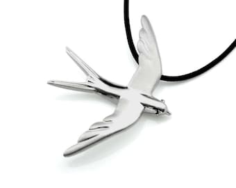 Sterling Silver Swallow – Bird Jewelry Necklace Pendant with Charm Swallow a Perfect Spring Summer Gift, size – L