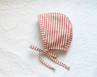 Red & Cream Striped Bonnet; Baby Bonnet; Toddler Bonnet