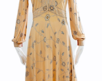 Emilio Pucci Dress Peach Floral Graphic Print Silk Jersey 1960s Size 12 Vintage Prince of Prints Italy