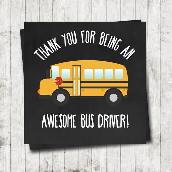 Bus Driver Thank You Tag 3 inch Square Tag Instant Download