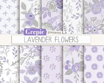"""Lavender digital paper: """"LAVENDER FLOWERS"""" floral, patterns, floral background, lilac, purple, flower pattern, vintage flowers, spring"""