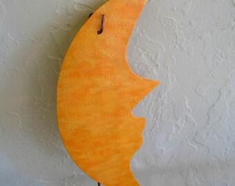 Metal garden art moon sculpture reclaimed metal garden stake yellow orange