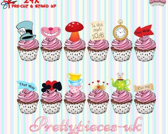 24 x Mad Hatters Tea Party Stand-Up Pre-Cut Wafer Paper Cupcake Toppers
