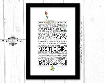 The Little Mermaid - Disney Typography Print - Quotes & Lyrics - PRINT