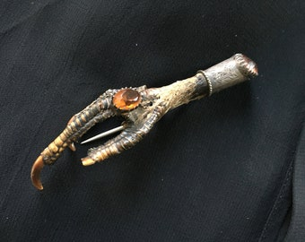 antique hunting brooch in silver, bird foot and citrine. from Great Britain
