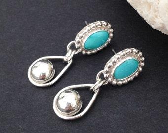 Blue Turquoise Earrings, Rain Drops, Sterling Silver Handcrafted Artisan Silversmith Bezel Set Stone Post Earrings, Boho Chic Dangles
