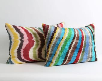 ikat velvet pillow cover with silk ikat backing 16x22 inch Rainbow multicolor lumbar decorative handwoven pillow