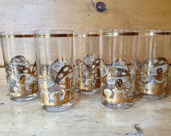 Culver Mad Men 22K Gold Mushroom Highballs Tumblers Glasses Set of 6 Signed Excellent