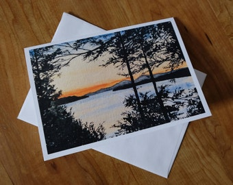 Sunset View, Lake Champlain Vermont Greeting Card, Watercolor Print Card, Blank Inside with Envelope, Fine Art All Occasion Card.