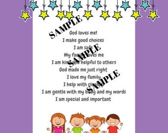 10 Affirmations for Kids Printable