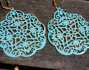 Bohemian Earrings, Lightweight Earrings, Turquoise Patina Earrings, Dangle Earrings, Boho Chic Jewelry, Ethnic earrings, Hippie Gift for her