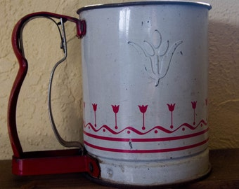Vintage Flour Sifter with Tulip Motif