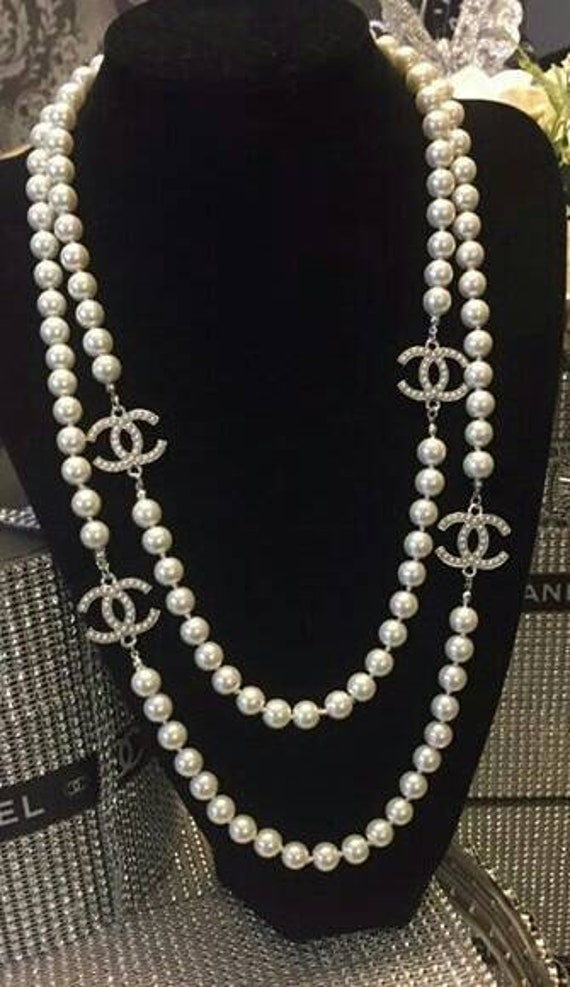 Handmade Cc Logo Chanel Inspired Pearl Necklace by Etsy