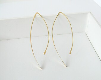 Gold Arc Earrings, Hoop Earrings, Silver Hoop Earrings, Gold Hoop Earrings, Dainty Earrings, Hook Earrings, Rose Gold Earrings