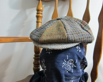 Harris Tweed Newsboy Hat 8 Panels Wool Fannel