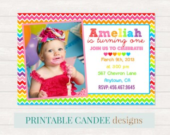 Rainbow Birthday Invitation, Rainbow Birthday, Chevron Invitation, Colorful Invitation, Printable Rainbow Invitation