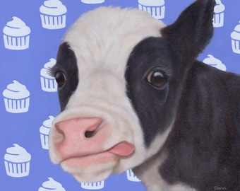 Cow - Cow Print - Cow Art - Calf Print with Cupcakes - Birthday Cow - 100% Proceeds Benefit Animal Charity