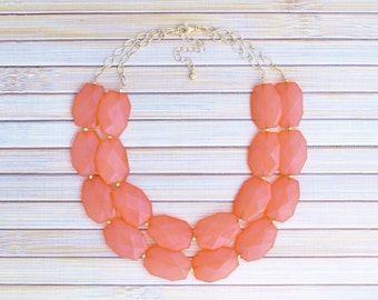 Coral Statement Necklace - Large Bead Coral Pink Bridesmaids Double Layer Strand Necklace - Chunky Bold Layering Bridal Jewelry for Bride