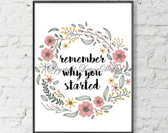 Remember why you Started Saying Quote Print Your Own Instant Download Art Print Wall Art Typography Poster Home Decor