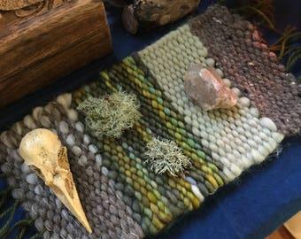 Hand woven treasure mat altar mat display weaving natural fiber wool