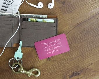 Metal Wallet Card, Inspiration Wallet Insert, Encouragement Quote, Engraved Wallet Card, Anniversary Gift, Birthday Gift --WC-P-DreamsPlans