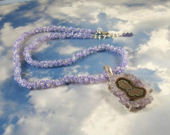 Amethyst Stalactite in Sterling Setting on Woven Bead Necklace