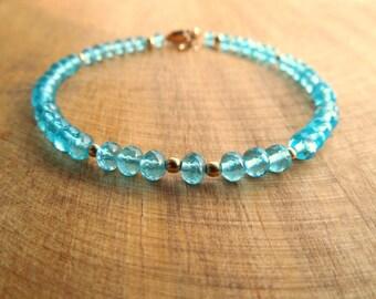 Caribbean Blue Bracelet | Apatite Bracelet | Apatite Jewelry | Gemstone Jewelry Gifts By Barbara Sophia Jewelry | Blue Gold Beaded Bracelet