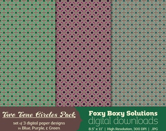 Two Tone Circles Digital Paper Pack - set of 3 printable digital papers in green, blue, and purple