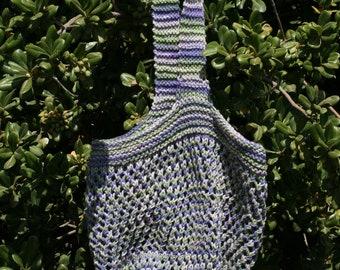 Hand Knit Market Bag in Purple Cotton