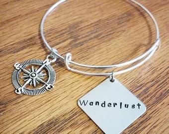 Wanderlust adjustable bangle bracelet wanderlust charm bracelet travel charm bracelet wanderlust jewelry hand stamped charm bracelet