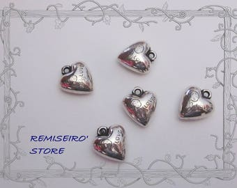 10 charms heart flower love silver